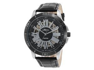 Croton Re306076ssbk Men's Reliance Automatic Black Genuine Leather Silver-Tone Dial Watch