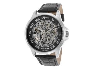 Croton Re306078ssbk Men's Reliance Auto Black Gen. Leather And Skeleton Dial Watch