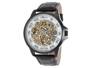 Croton Re306078bkbk Men's Reliance Automatic Black Genuine Leather And Case Skeleton Dial Watch