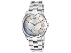 Movado 606618 Women's Lx Stainless Steel Silver-Tone And White Mop Dial Watch