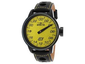 Invicta 17700 Men's S1 Rally Black Genuine Leather Yellow Dial Watch