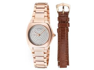 Croton Czarina Women's Silver Dial Watch With Interchangeable Genuine Lizard Strap