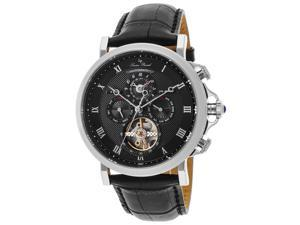 Lucien Piccard 40021A-01 Acropolis Automatic Multi-Function Black Genuine Leather And Dial Ss Watch