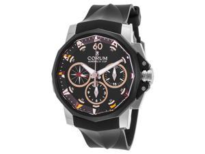 Corum A986-02937 Men's Admiral's Cup Auto Chron Black Rubber Ss Rose-Tone Accent Buckle Watch