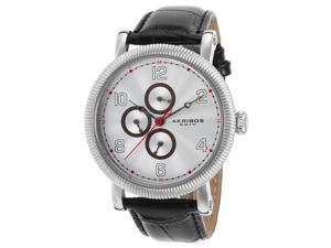 Akribos Xxiv Ak599wt Men's Ultimate Black Genuine Leather Silver-Tone Dial Ss Watch