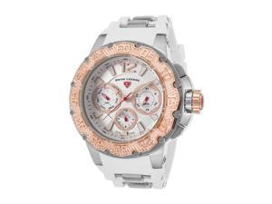 Swiss Legend 14096Sm-02S-Wht-Ra Ultrasonic Multi-Fun. White Sil. Silver-Tone Dial Ss Rose-Tone Bezel Watch
