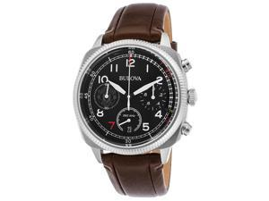 Bulova 96B250 Men's Manchester United Club Chrono Brown Gen Leather Black Dial Ss Watch