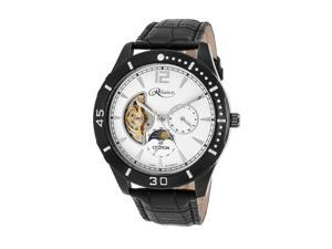 Croton Re306075bkdw Men's Reliance Automatic Black Genuine Leather White Dial Watch