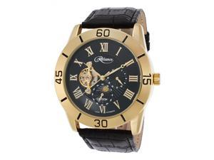 Croton Re306080ylbk Men's Reliance Automatic Black Genuine Leather And Dial Gold-Tone Case Watch