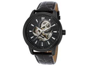 Invicta 22580 Men's Vintage Automatic Black Genuine Leather And Dial Black Ip Ss Watch
