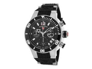 Swiss Legend 14084Sm-01-Bb Sharkarma Chronograph Black Silicone, Dial & Bezel Ss Watch