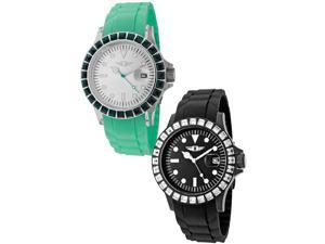 I By Invicta 10067-002-10067-007 Women's Green Polyurethane Silver-Tone Dial Ss Set Watch