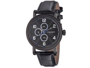 Akribos Xxiv Ak599bk Men's Multi-Function Black Genuine Leather And Dial Ss Watch