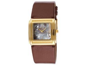 Activa Sl283-003 Women's Brown Leatherette Grey Mother Of Pearl Dial Gold-Tone Ss Watch