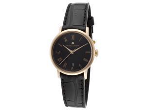 Maurice Lacroix Lc6013-Pg101-310 Women's Les Classiques Auto Black Gen Alligator And Dial 18K Rose Gold Watch