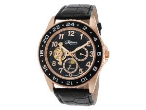Croton Re306081rgbk Men's Reliance Automatic Black Genuine Leather And Dial Rose-Tone Case Watch