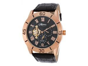 Croton Re306080rgbk Men's Reliance Auto Black Leather And Dial Rose-Tone Base Metal Case Watch