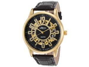 Croton Re306072ylbk Men's Reliance Automatic Black Gen. Leather And Dial Gold-Tone Case Watch