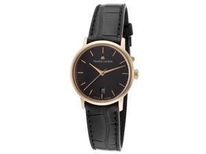 Maurice Lacroix Lc6013-Pg101-330 Women's Les Classiques Auto Black Genuine Alligator Black Dial Watch