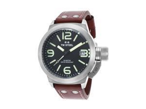 Tw Steel Cs21 Men's Canteen Brown Genuine Leather Black Dial Watch