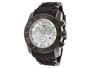 Swiss Legend 10070-Gm-02S Commander Pro Chrono Black Silicone Silver-Tone Dial Gunmetal Ss Case Watch