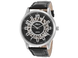 Croton Re306072wsdw Men's Reliance Automatic Black Genuine Leather White Dial Watch