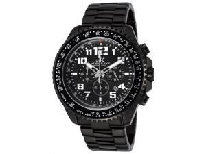 Adee Kaye Ak9004 Men's Aviation Chrono Black Ip Stainless Steel And Dial Black Ip Ss Watch