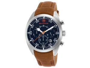 Ben & Sons 10005-03 Voyager Chronograph Light Brown Genuine Leather Black Dial Ss Watch