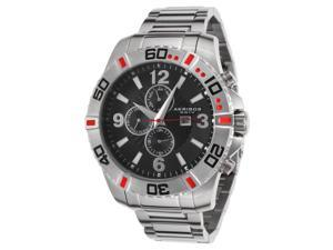 Akribos Xxiv Ak671ssb Men's Grandiose Multi-Function Stainless Steel Blk Dial Red Accent Ss Watch