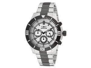 Invicta 12843 Men's Specialty Chrono Two-Tone Bracelet Silver-Tone Dial Black Bezel Watch