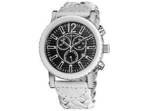 Akribos Xxiv Ak571wt Men's Chronograph Black Dial White Leather Watch