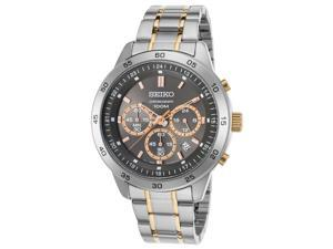 Seiko Sks525p1 Men's Neo Sport Chronograph Two-Tone Stainless Steel Charcoal Dial Ss Watch
