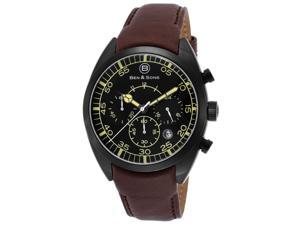 Ben & Sons 10005-Bb-01 Voyager Chronograph Brown Genuine Leather Black Dial And Ip Ss Watch
