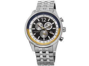 Akribos Xxiv Ak650ss Men's Chronograph Stainless Steel Black Dial Blue And Yellow Accent Ss Watch