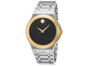 Movado 0606960 Men's Stainless Steel Black Dial Gold-Tone Bezel Watch