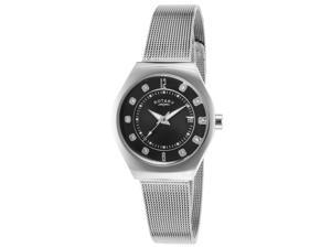 Rotary MD00033-19 Women's Black Dial Stainless Steel Mesh Bracelet