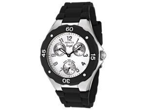 Invicta 0733 Women's Angel Chrono Black Polyurethane White Dial Stainless Steel Watch