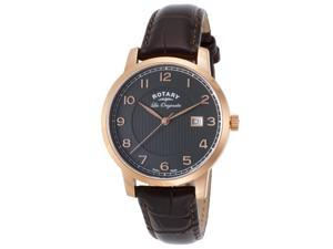 Rotary Gs90077-04 Men's Les Originales Dark Genuine Leather Black Dial Rose-Tone Ss Watch