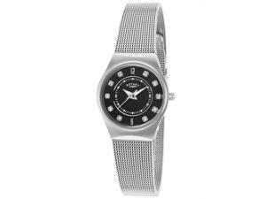 Rotary Lb00033-19 Women's Stainless Steel Black Dial Crystal Markers Ss Watch