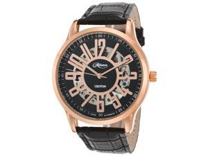 Croton Re306072rgbk Men's Reliance Automatic Black Genuine Leather And Dial Rose-Tone Case Watch