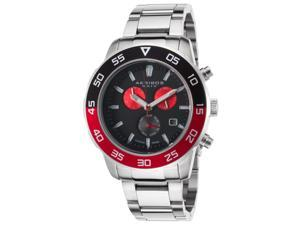 Akribos Xxiv Ak669rd Men's Chronograph Stainless Steel Black Dial Red Accents Ss Watch