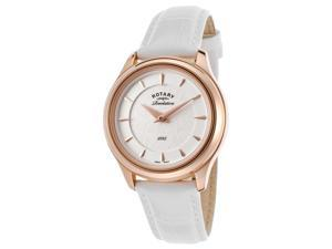 Rotary Ls02974-02-16 Women's Revelation White Genuine Leather Brown Dial Watch