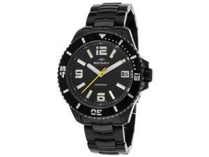 Rotary Agb00085-W-04 Men's Aquaspeed Ion Plated Black Stainless Steel Black Dial Watch