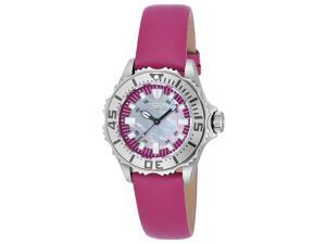 Invicta 18490 Women's Pro Diver Pink Gen. Leather Platinum Mother Of Pearl Dial Ss Watch