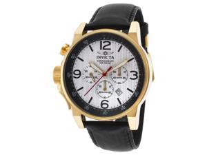 Invicta 20136 Men's I-Force Chrono Black Leather White Dial 18K Gp Ss Watch