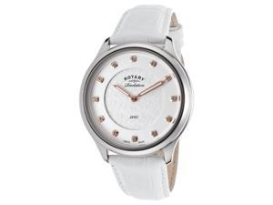 Rotary Ls05965-06-41 Women's White Genuine Leather White Dial Stainless Steel Watch