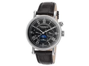 Akribos Xxiv Akws610bk Men's Multi-Function Black Genuine Leather And Dial Watch