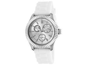 Invicta 22101 Women's Angel Multi-Function White Silicone Silver-Tone Dial Ss Watch