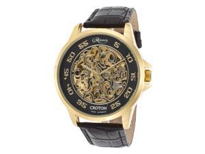 Croton Re306078ylbk Men's Reliance Auto Black Leather And Skeleton Dial Gold-Tone Case Watch