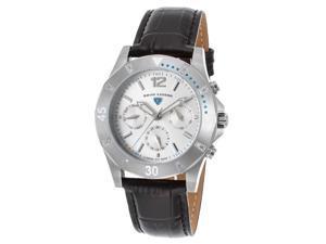 Swiss Legend 16016Sm-02-Tura Paradiso Diamond Multi-Fun Blk Leather Silver-Tone Dial Turq. Acnt Ss Watch